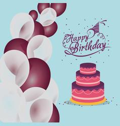 Happy birthday cake balloons confetti vector