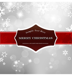 Happy Christmas on silver background with snow vector image vector image