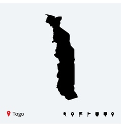 High detailed map of togo with navigation pins vector