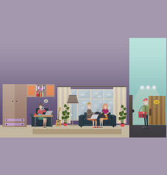 Home food delivery concept flat vector
