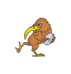 Kiwi Bird Running Rugby Ball Drawing vector image