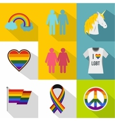 Lgbt icons set flat style vector