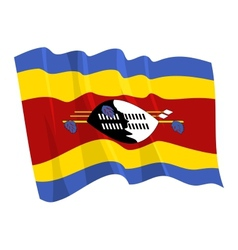 political waving flag of swaziland vector image vector image