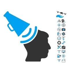 Propaganda megaphone icon with air drone tools vector