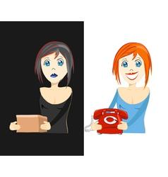 sad and happy girls vector image
