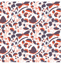 seamless pattern with butterflies ladybugs vector image vector image