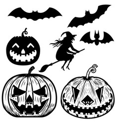 Set of halloween icons witch halloween pumpkin vector