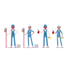 Set of male and female janitor standing vector