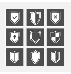 Shield flat icons set vector