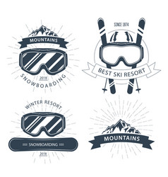 ski resort emblem and labels with goggles vector image vector image