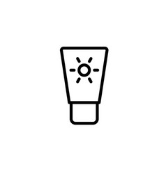 sunscreen icon thin line black on white background vector image