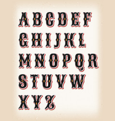 Vintage circus and western abc font vector