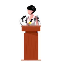 Woman standing behind rostrum and giving a speech vector