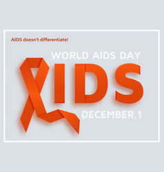 world aids day background with red ribbon vector image