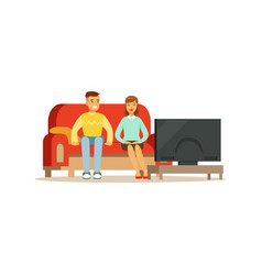 young man and woman watching tv people sitting on vector image