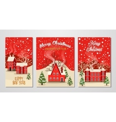 Christmas and New Year greeting card set vector image