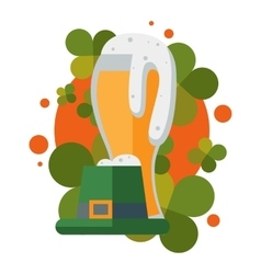 St patric day beer and hat vector