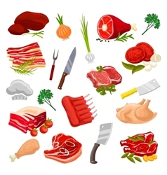Butchery meat butcher shop products icons vector image