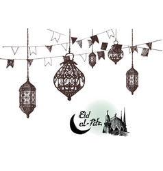 Ramadan kareem iftar party celebration eid al vector