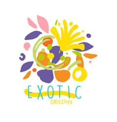 Exotic tropical summer vacation logo design vector