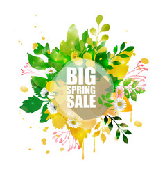 Spring sale banner with shape floral vector