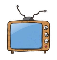 Cartoon home appliances old tv isolated on white vector