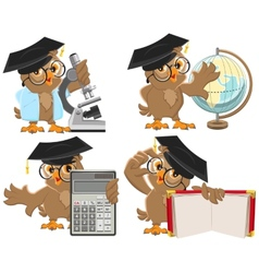 Set owls teachers vector
