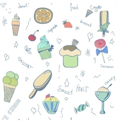 Pattern of ice-creams and ice-lolly vector