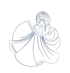 Belly dancer ink sketch gesture drawing vector