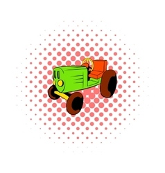 Tractor icon in comics style vector