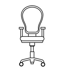 Armchair office equipment seat outline vector