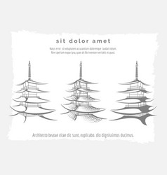 Asian pagoda set on vintage backdrop vector