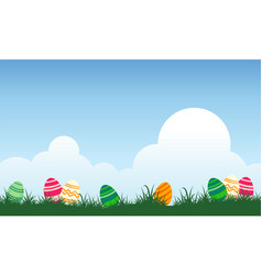 Background of easter egg and cloud vector