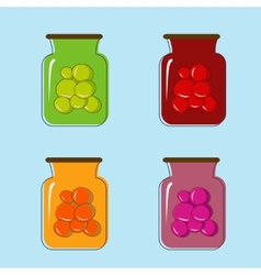Bank with home canned fruit juice design vector