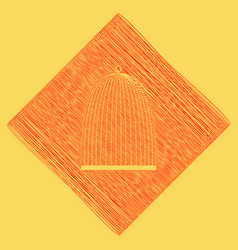 Bird cage sign red scribble icon obtained vector