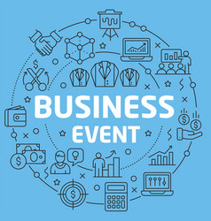 Blue line flat circle business event vector