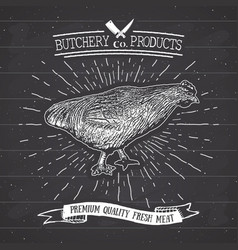 Butcher shop vintage emblem chicken meat products vector