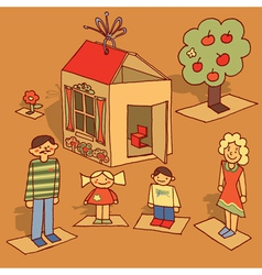 cardboard family vector image