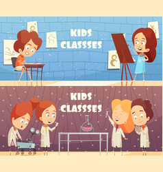 Children classes horizontal banners vector
