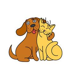 cute dog hugs cat vector image vector image