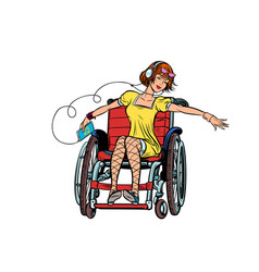 Dancing girl in a wheelchair audio and music vector