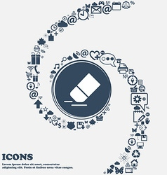 Eraser rubber icon in the center Around the many vector image