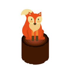 Forest fox and wooden natural image vector
