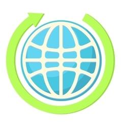 Globe and green arrow icon cartoon style vector