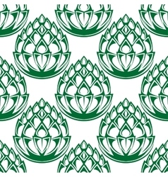 Green hop blooms seamless pattern vector