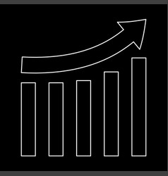 Growing graph white color path icon vector