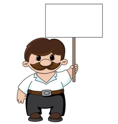 man holding a blank sign vector image vector image