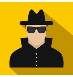 Man in black sunglasses and black hat flat icon vector