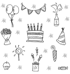 Party for kids birthday doodle art vector