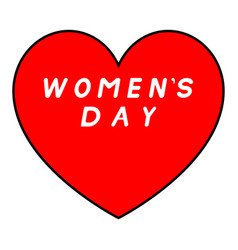 Red heart with black path for womens day with vector